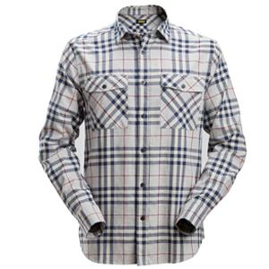 8516-Chemise à carreaux à manches longues en flanelle
